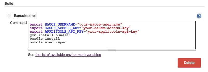 Jenkins CI - command input box