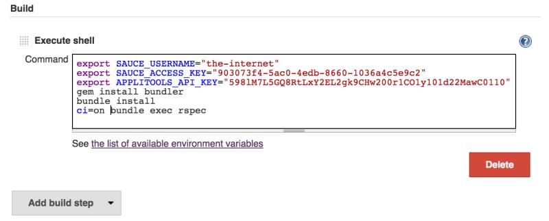 Jenkins CI - update shell commands