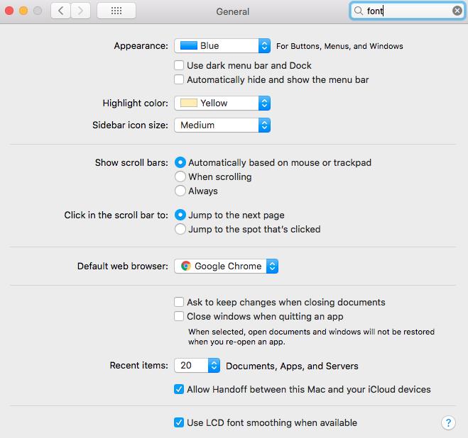 Font smoothing setting on macOS