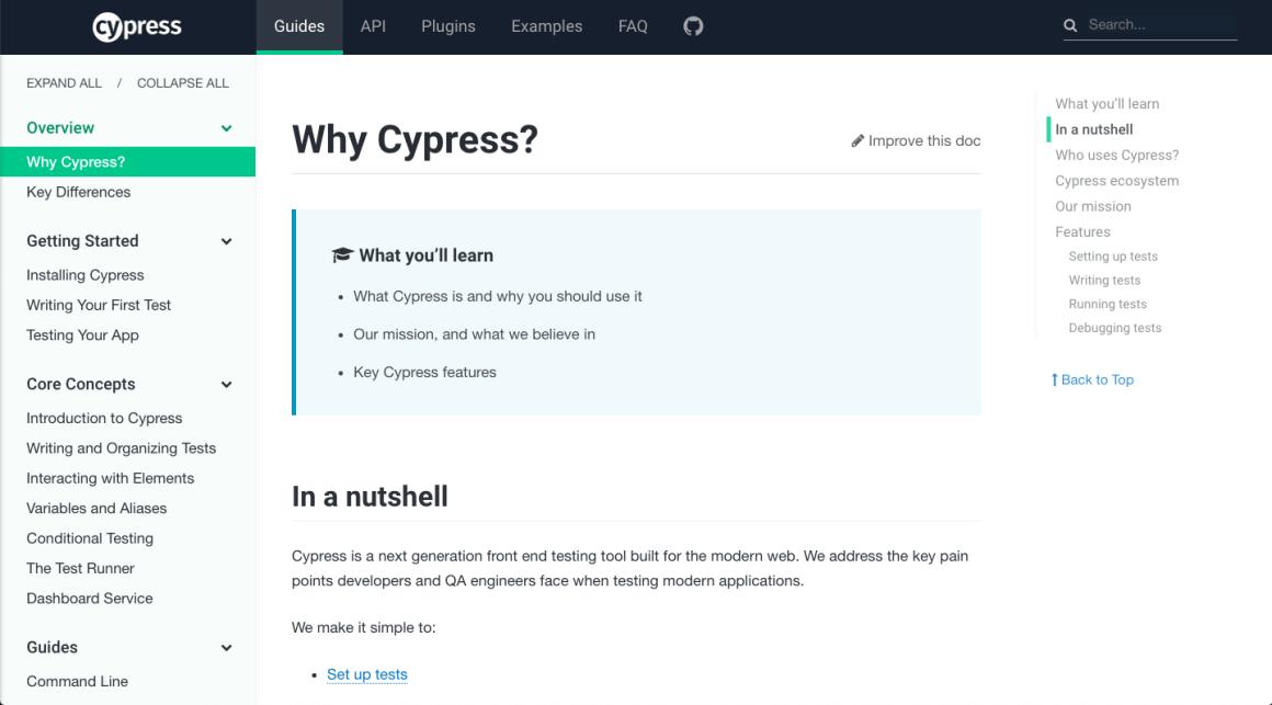 Cypress documentation example