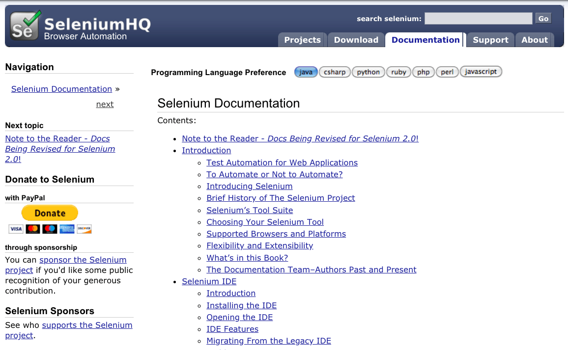 Selenium documentation example