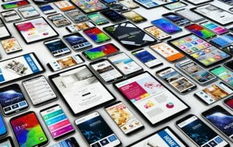 Variety of mobile devices showing mobile apps