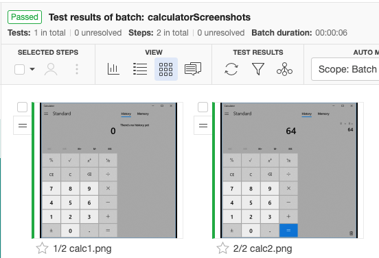 The baseline images in Applitools, showing our two calculator screenshots from earlier (one showing 0, the other showing 64).