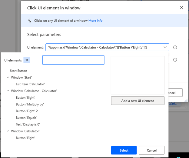 Using a Click UI Element in Window action in Microsoft Power Automate Desktop to gather the first calculator button click we will be automating - 8.