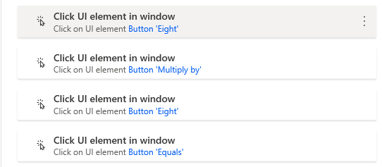 """The 4 """"Click UI element in Window"""" actions in order - 8, multiply by, 8, and equals."""
