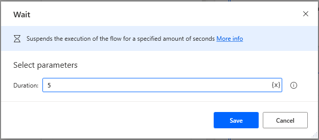 Using a Wait action in Microsoft Power Automate Desktop to wait 5 seconds.