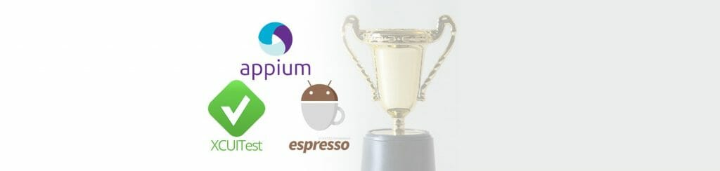 Appium, Espresso and XCUITest logos next to a trophy