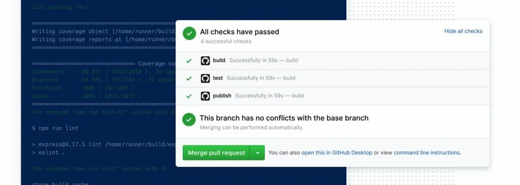 GitHub Actions logs and pull request