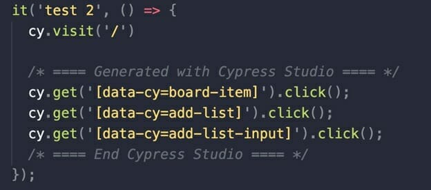 The code created is bounded by comments indicating it was generated with Cypress Studio