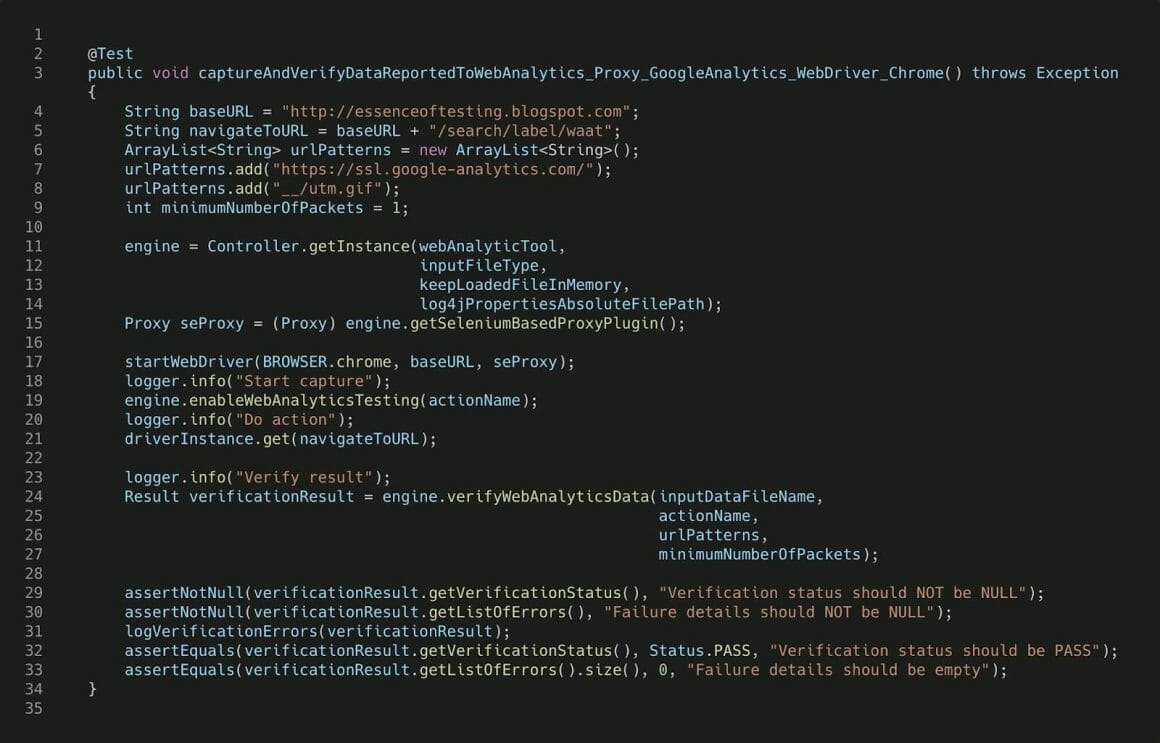 A test shown using WAAT - Web Analytics Automation Testing.