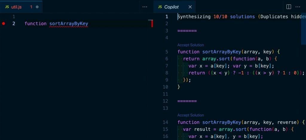 GitHub Copilot synthesizing multiple results