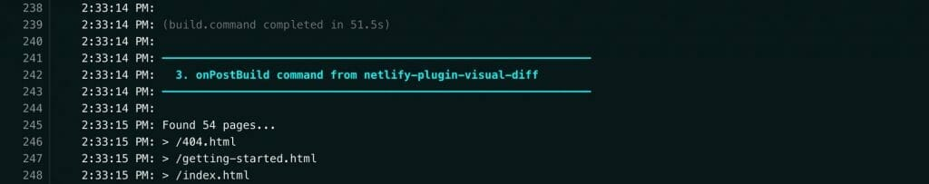 Netlify build logs showing onPostBuild with netlify-plugin-visual-diff