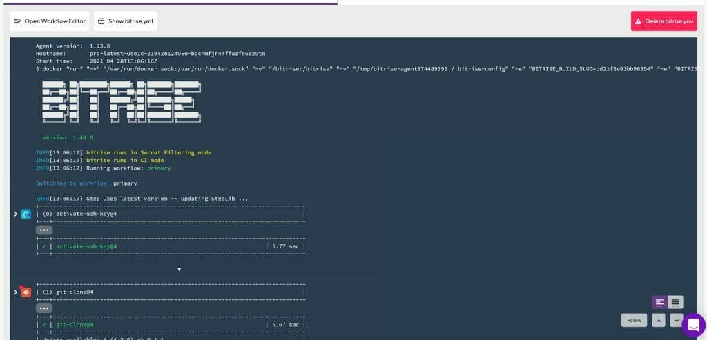 Bitrise build starter screen
