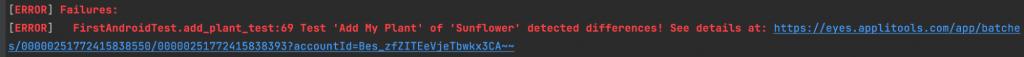 Visual UI failed tests