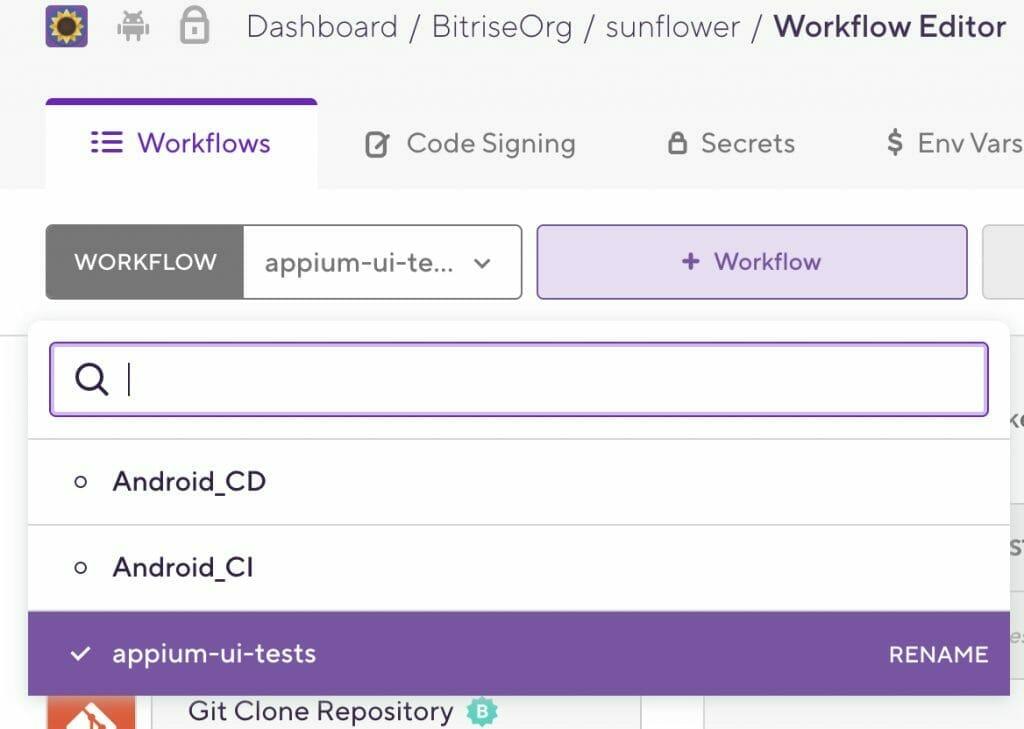 rename the workflow name